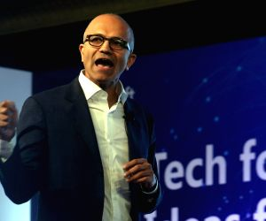 "Tech for Good, Ideas for India"" - Satya Nadella"