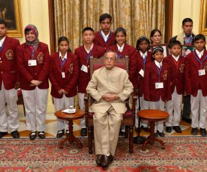 President Mukherjee with the winners of the National Bravery Awards-2014