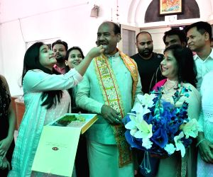 New Delhi: Om Birla, the Bharatiya Janata Party (BJP) MP from Rajasthan, will be the NDA's nominee for Lok Sabha Speaker's post celebrates with his family in New Delhi on June 18, 2019. (Photo: IANS)