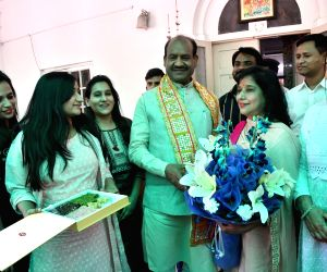 New Delhi: Om Birla, the Bharatiya Janata Party (BJP) MP from Rajasthan, who will be the NDA's nominee for Lok Sabha Speaker's post celebrates with his family in New Delhi on June 18, 2019. (Photo: IANS)