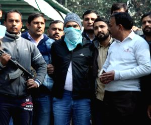 """:New Delhi: Police present before press Abdul Subhan Qureshi, the Indian Mujahideen operative, termed """"Bin Laden of India"""" and the alleged mastermind of the 2008 Gujarat serial blasts who was ..."""