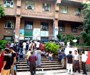 New Delhi: Polling for the Jawahar Lal University (JNU) student union election underway at the university campus in New Delhi on Sept 8, 2017. The results for the student union will be announced on September 11, 2017. (Photo: IANS)
