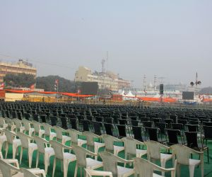 Preparations for BJP rally at Ramlila Maidan