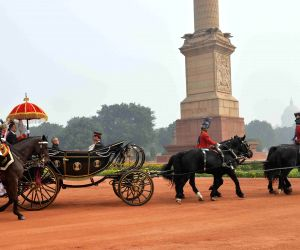 President Mukherjee departs for the Parliament House