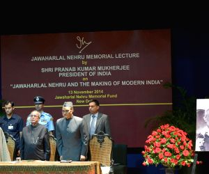 President Mukherjee addresses during the Jawaharlal Nehru Memorial Lecture