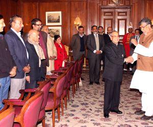 Kailash Satyarthi with President Mukherjee during a programme