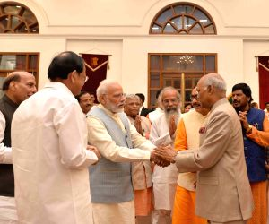 New Delhi: President Ram Nath Kovind, Vice President M. Venkaiah Naidu, Prime Minister Narendra Modi and Defence Minister Rajnath Singh during 'At Home' hosted by him on 73rd Independence Day at Rashtrapati Bhavan, in New Delhi on Aug 15, 2019. (Phot