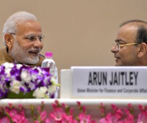 New Delhi: Prime Minister Narendra Modi and Union Finance Minister Arun Jaitley at the launch of MSME Support and Outreach Programme in New Delhi on Nov 2, 2018. (Photo: IANS)