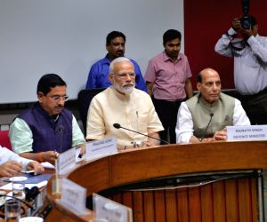 New Delhi: Prime Minister Narendra Modi, Union Ministers Pralhad Joshi, Rajnath Singh and Thawar Chand Gehlot along with Congress leader Ghulam Nabi Azad during the all party meeting in New Delhi, on June 16, 2019. (Photo: IANS)