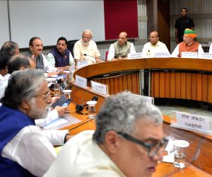 New Delhi: Prime Minister Narendra Modi, Union Ministers Rajnath Singh, Arjun Ram Meghwal and Thawar Chand Gehlot along with Congress leaders Ghulam Nabi Azad, Anand Sharma and others during the all party meeting in New Delhi, on June 16, 2019. (Phot