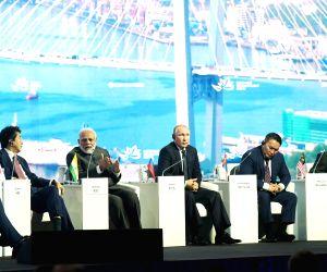 New Delhi: Prime Minister Narendra Modi with Japanese Prime Minister Shinzo Abe, Russian President Vladimir Putin, Mongolian President Khaltmaagiin Battulga and Malaysian Prime Minister Mahathir Bin Mohamad at the Eastern Economic Forum (EEF) 2019 in