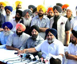 Sukhbir Singh Badal addresses a press conference