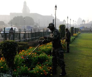 Security checks being carried out at Rajpath lawns