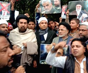 Shias protest at US embassy against killing of Soleimani