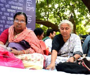 Medha Patkar participates in a demonstration at Jantar Mantar