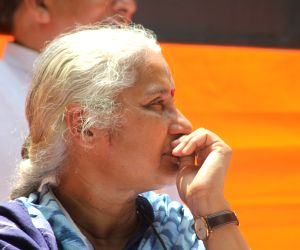 Medha Patkar during protest against the Land Acquisition Bill