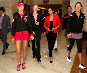 IPTL stars Sania Mirza, Ana Ivanovic, Kristina Mladenovic, Daniela Hantuchova at the launch of the 'Canvas Selfie'