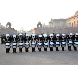 Rehearsals for the beating retreat ceremony underway at at Raisina Hills
