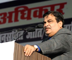 Nitin Gadkari, Udit Raj during a Dalit rally