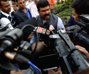 Dharmendra Pradhan interacts with press
