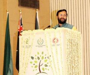 Hamid Ansari, Javadekar at the inauguration of 'International Conference on Global Environment Issues