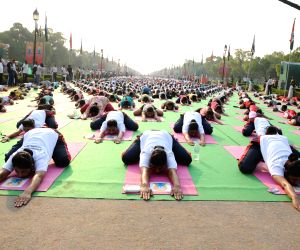 Dress rehearsal for International Yoga Day at Rajpath