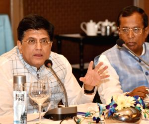 New Delhi: Union Commerce and Industry Minister Piyush Goyal chairs a meeting to discuss issues related to export credit, in New Delhi on June 7, 2019. Also seen Union MoS Commerce and Industry Som Parkash. (Photo: IANS/PIB)