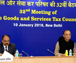 New Delhi: Union Finance and Corporate Affairs Minister Arun Jaitley chairs the 32nd GST Council meeting, in New Delhi, on Jan 10, 2019. Also seen Revenue Secretary Ajay Bhushan Pandey. (Photo: IANS/PIB)