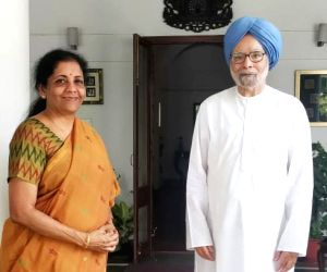 New Delhi: Union Finance and Corporate Affairs Minister Nirmala Sitharaman meets Former Prime Minister Manmohan Singh, in New Delhi on June 27, 2019. (Photo: IANS)