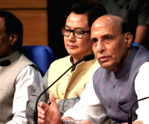 Rajnath Singh address a press conference