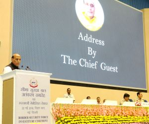: New Delhi: Union Home Minister Rajnath Singh addresses at the Investiture Ceremony of Border Security Force (BSF), in New Delhi on May 22, 2018. (Photo: IANS/PIB).
