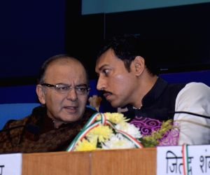 Arun Jaitley, Rajyavardhan Singh Rathore  launch the Government of India Calendar 2015