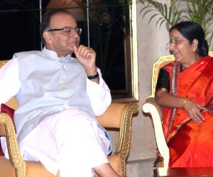 New Delhi: Union Minister for Finance, Corporate Affairs, and Information and Broadcasting Arun Jaitley and External Affairs Minister Sushma Swaraj during a `At Home` programme on the occasion of 69th Independence Day at Rashtrapati Bhavan in New Del