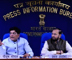 New Delhi: Union Ministers Prakash Javadekar and Piyush Goyal address a press conference in New Delhi on July 17, 2019. (Photo: IANS)