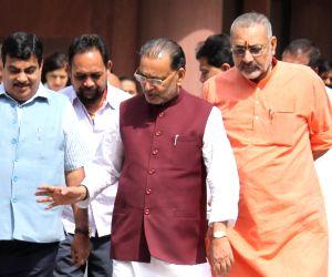 Nitin Gadkari, Giriraj Singh, Radha Mohan Singh at the Parliament