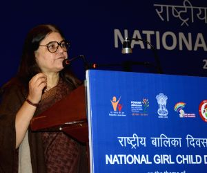 New Delhi: Union Women and Child Development Minister Maneka Gandhi addresses at the National Girl Child Day 2019 celebrations in New Delhi, on Jan 24, 2019. (Photo: IANS/PIB)