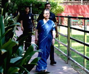 New Delhi: UPA Chairperson Sonia Gandhi arrives to attend the Congress Working Committee (CWC) meeting at the party's headquarters in New Delhi, on May 25, 2019. (Photo: IANS)