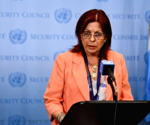 Maria Cristina Perceval speaks to reporters after briefing a closed-door emergency meeting of the UN Security Council on Syria