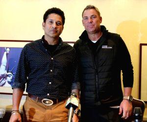 New York: Sachin Tendulkar and Shane Warne during a programme