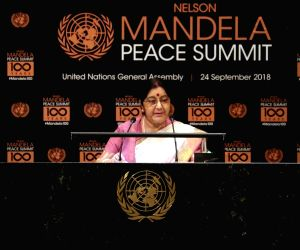 New York: Sushma Swaraj at Nelson Mandela Peace Summit
