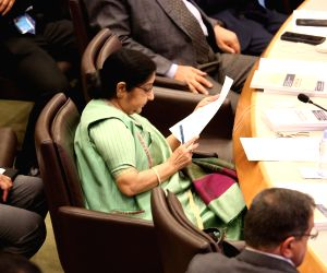 New York: External Affairs Minister Sushma Swaraj during the UN General Assembly Session in New York on Sept 20, 2017. (Photo: ​Mohammed Jaffer​/​​IANS)