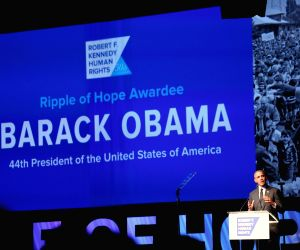 New York: Former US President Barack Obama addresses at Robert F. Kennedy Human Rights' Ripple of Hope Awards in Manhattan, New York, on Dec 12, 2018.