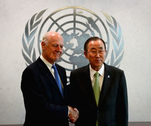 New York: United Nations Secretary-General Ban Ki-moon poses for a picture with his Special Envoy for Syria