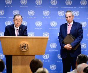 United Nations Secretary-General Ban Ki-moon speaks during a press meet