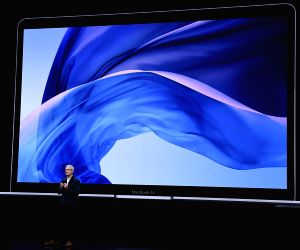 NEW YORK, Oct. 30, 2018 - Apple CEO Tim Cook speaks on stage during an event to unveil new Apple products in Brooklyn, New York, the United States, on Oct. 30, 2018. Apple Inc. on Tuesday launched ...