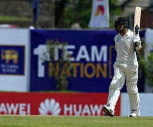 New Zealand's Ross Taylor celebrates his half century during the 1st Test of ICC World Test Championship between New Zealand and Sri Lanka at Galle International Stadium in Galle, Sri Lanka on ...