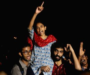 Newly elected JNU student union office bearers President Aishe Ghosh celebrates after the announcement of the results of JNUSU at Jawaharlal Nehru University in New Delhi on Sep 17, 2019.