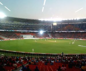 Free Photo: Night images of the Narendra Modi Stadium during the Pink ball Test Match at Ahmedabad