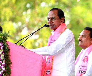 Nirmal: Telangana Chief Minister and Telangana Rashtra Samithi (TRS) supremo K Chandrashekhar Rao addresses during a rally ahead of the 2019 Lok Sabha elections in Telangana's Nirmal district on April 7, 2019. (Photo: IANS)