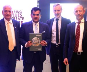 NITI Ayog Amitabh Kant, Italy's ambassador to India, Lorenzo Angeloni and Ferrero India MD at the release of 8th CSR report of Ferrero Group at the Italian Embassy in New Delhi, on May 24, ...